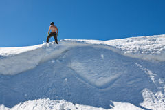 Man on the snow top. Stock Image