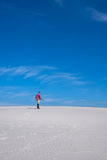 Man with snowboard goes through the desert Royalty Free Stock Image