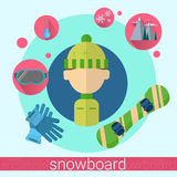 Man Snowboard Icon Royalty Free Stock Photos