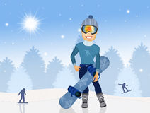 Man with snowboard. Illustration of man with snowboard in winter Stock Images