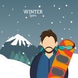 Man snowboarding glasses alps mountains snow. Vector illustration eps 10 Royalty Free Stock Photos