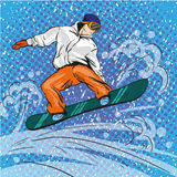 Man snowboarding in mountains. Vector illustration in pop art retro style. Winter sports vacation concept. Sportsman Royalty Free Stock Photos