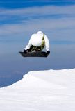 Man snowboarding on slopes of Pradollano ski resort in Spain Stock Image