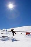 Man snowboarding on slopes of Pradollano ski resort in Spain Stock Photos