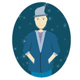 Man snowflakes. Man in blue suit with snowflakes in the background Royalty Free Stock Photography