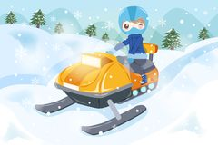 Man is snowmobiling Stock Photography