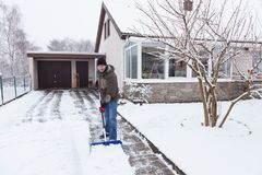 Snow Shovelling Stock Photography
