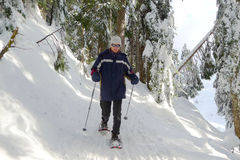 Man Snowshoeing. In North Vancouver, BC, Canada stock photo