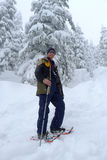 Man Snowshoeing. In North Vancouver, BC, Canada stock image