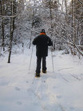 Man with snowshoes.  stock photography