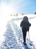 A man in snowshoes is the snow. Stock Images