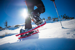 Man in snowshoes. Royalty Free Stock Photos