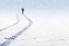 Man and snowy landscape Royalty Free Stock Photography