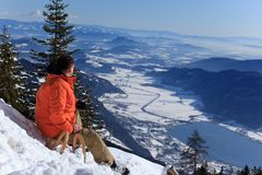 Man on Snowy Slope Royalty Free Stock Image