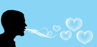 Man and soap hearts. Silhouette of the man, who is blowing soap hearts stock illustration
