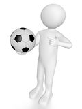 Man with soccer ball. A man is holding and pointing a soccer ball Royalty Free Stock Photo
