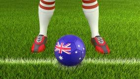 Man and soccer ball  with Australian flag. 3d image of Man and soccer ball  with Australian flag Stock Photos