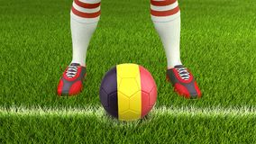 Man and soccer ball  with Belgian flag Stock Photography