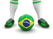Man and soccer ball  with Brazilian flag (clipping path included) Stock Photo