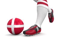 Man and soccer ball  with Danish flag (clipping path included) Stock Images