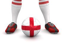 Man and soccer ball with English flag (clipping path included). Man and soccer ball with English flag. Image with clipping path royalty free illustration