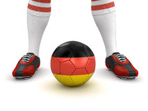 Man and soccer ball with German flag (clipping path included). Man and soccer ball with German flag. Image with clipping path royalty free illustration