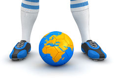 Man and soccer ball  with globe (clipping path included) Stock Image