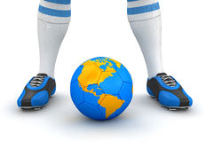 Man and soccer ball with globe (clipping path included). Man and soccer ball with globe. Image with clipping path vector illustration