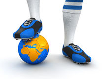 Man and soccer ball with globe (clipping path included). Man and soccer ball with globe. Image with clipping path royalty free illustration