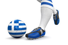 Man and soccer ball  with Greek flag (clipping path included) Royalty Free Stock Photo