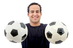 Man with soccer balls Stock Photo