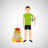 Man soccer exercising bag health food Stock Images