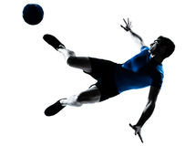 Man soccer football player flying kicking Stock Photos
