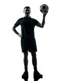 Man soccer player silhouette Royalty Free Stock Photos