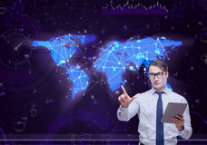 The man in social data management concept Stock Photo