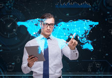 The man in social data management concept Royalty Free Stock Photos