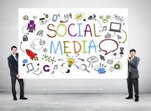 Man with Social Media Sign Royalty Free Stock Photos