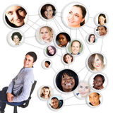 Man and social network stock illustration