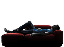 Man sofa coach  lying sleeping Royalty Free Stock Image