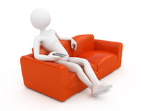 Man on sofa watching Tv Royalty Free Stock Image