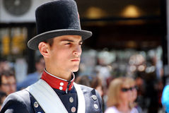 Man in soldier costume parade. BUENOS AREAS ARGENTINE NOVEMBER 17: Young unidentified men in soldier costume parade for the commemoration of the Italian Stock Photo