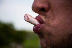 Man som äter den söta godisrottingen Closeupbild med ansiktsuttryck Kopiera utrymme med mannen som äter sötsaker för godisrotting Royaltyfri Foto