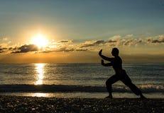 Man som öva Wushu på solnedgången Kontur av en man på solnedgång arkivfoton