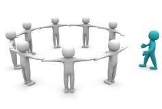 man som 3D sammanfogar en grupp människor i en cirkla Arkivbild