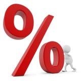 man som 3D skjuter procenttecknet royaltyfri illustrationer