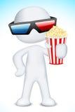 man som 3d slitage exponeringsglas som 3d rymmer Popcorn Arkivfoton