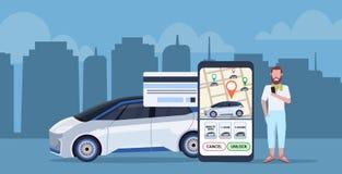 Man som använder den mobila applikationen som betalar direktanslutet för skärm för smartphone för begrepp för dela för taxibil me royaltyfri illustrationer