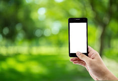 man som använder den smarta telefonen för mobil i parkera Royaltyfria Foton