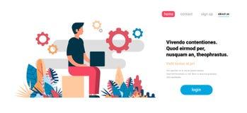 Man som använder utrymme för kopia för lägenhet för bakgrund för kugghjul för bärbar datorarbeteprocess horisontal stock illustrationer