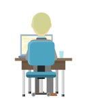 Man som arbetar på datoren Arkivfoton